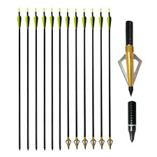 "32"" Archery Fiberglass Arrows SP500 for Compound Recurve Bow Hunting Broadhead"