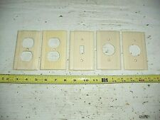 Lot of 5 Old Vintage Fancy Ribbed Ivory Switch Plate & Outlet Cover Bakelite