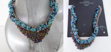 New ZARA Blue Natural statement necklace Rustic Chunky Rhinestones Bohemian 555