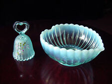 ViNTaGe FENTON Blue OpaLeSceNT RiBBeD ArT GLaSs Candy Dish/Bowl & H Painted Bell
