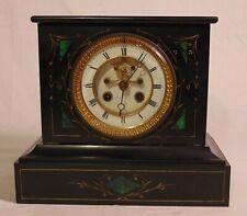19th C Philadelphia Victorian Black Green Marble Malachite Mantle Shelf Clock