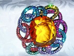 """Retired STUNNING """"JOAN RIVERS CRYSTAL PIN / BROOCH, Various Color Stones"""