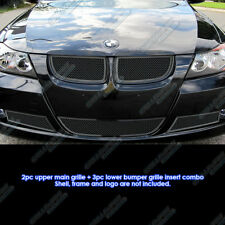 Fits 06-07 BMW 3-Series E90 Sedan Black Stainless Steel Mesh Grille Grill Combo