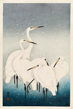 Koson Ohara white birds in snow print canvas 8X12&12X17 Japanes