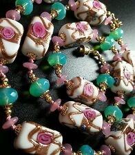 VINTAGE ANTIQUE VENETIAN WEDDING CAKE ART GLASS KNOTTED BEAD NECKLACE