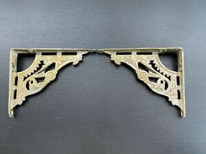 "2 Metal Art Deco 1920s Ornate Victorian Wall Shelf Brackets 4""x5"" Pair Antique"