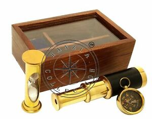 Lot Of 5 Pieces Set of 3 Brass Compass Sand Timer Maritime Telescope With Box