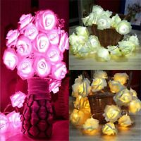 20 LED Rose Flower Fairy Wedding Garden Party Christmas Decor Xmas String Lights