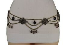 Women Fashion Belt Hip Waist Antique Gold Metal Chains Gray Black Flowers S M L