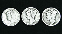 "Mercury Dimes 90% Silver (3) coin lot ""Junk Silver"", Average Circulation"