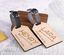 2pcs Personalised Wooden Luggage Tags Mr and Mrs Arrow Custom Tags