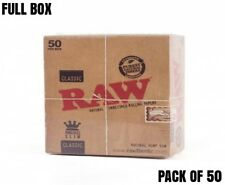 50 x RAW King Size Slim Classic Genuine Natural Unrefined Rizla Rolling Papers