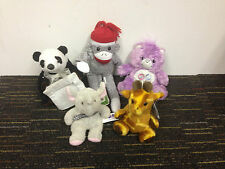 "5 STUFFED ANIMALS  SUPERFLY SOCK MONKEY  6"" SHARE BEAR  GINGER THE GIRAFFE"