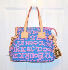 NEW Dooney & Bourke Signature Satchel Handbag Purse Blue Pink