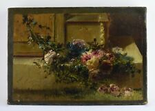 19TH CENTURY IMPRESSIONIST OLD OIL ON CANVAS PAINTING FLOWERS - FLORISTIC STYLE