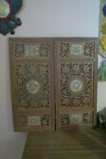 "Set of 2 Hand Craved Antique Vintage Indian Wood Inlay Wall Decor Panel 13""x16"""