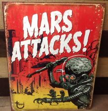 Mars Attack Vtg Sci Fi Movie Metal Sign Retro Picture Poster Alien Gift New USA