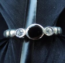 Zirconia Circle Design Ring Size 8 Lovely Estate Sterling Silver Onyx & Cubic