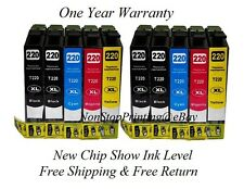 10PK Hi-Yield BK & Color Ink For Epson 220XL 220 WF2630 WF2650 WF2660 XP320 420