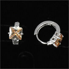 Square 18K W GP Wedding Party Earring Hoop Lady Costume Jewel CZ Topaz Color 467