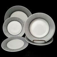 Pier 1 Metro Line 5 pc lot 1 Dinner Plate 2 Salad Plate 2 Soup Bowls Black Lines