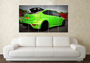 Large Ford Focus RS Green Turbo T5 Cosworth  Car Wall Poster Art Picture Print