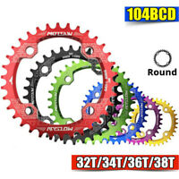 32T 34T 36T 38T 104BCD MTB Mountain Bike Chainring Round  Narrow Wide Chain Ring