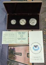 1981 Greece Pan-european Games Olympics Set Of 3 Silver Coins In Box W/ Coa Bu