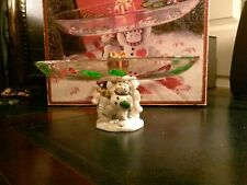 "GORHAM WINTER FOLLIES SNOWMAN TRIO PEDESTAL Glass PLATTER 9½"" Christmas Decor"