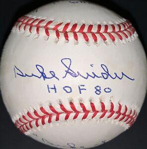 Duke Snider Signed Stat Baseball HMG COA 107/1000