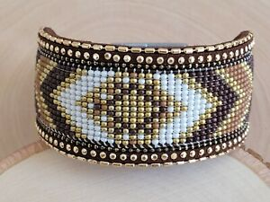 Native American Seed Beaded Bracelet Colorful Magnetic Clasp Bracelet Brown Gold