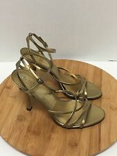 Guess Strappy Dress Shoe Heel Stiletto Felecity Gold Leather Buckle Size 7 1/2M