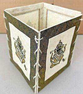 "Handmade Lokta Paper Lamp Shade from Nepal - Gold and Black Ganesh 4 1/2"""