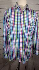 Alan Flusser Classic Multi Color Check Long Sleeve Shirt Button Down L Large