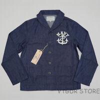 BOB DONG US Navy Deck Jacket Vintage Men's USN Dungaree Denim Jumper WW2 Uniform