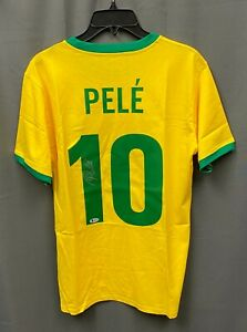 Pele #10 Signed Brazil Soccer Jersey Autographed Sz XL Beckett BAS COA HOF AUTO