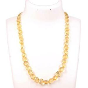 Natural Crtified Handmade Citrine Smooth Coin Beads Necklace 1 Strand 18 Inch