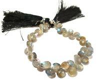 "1 Strand Natural Labradorite Heart 6-8mm Faceted Briolette Gemstone Beads 6""Inch"
