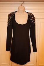 Anthropologie V & K STUDIO Black Dress With Studs Size Large