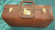 Very Old Imported Belting Leather Suitcase, TALON Zippers Rare, Brass Hardware