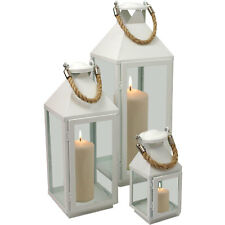 Laternen Set Windlicht Kerzenhalter Metall Gartenlaterne weiß H24/41/55cm 3tlg.