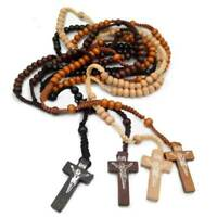 Wooden Cross Catholic Christian Rosary Necklace Religious Jewelry Pendant uk