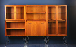 G plan Fresco tall wall unit  drinks glass display cabinet on hairpin legs 1970s