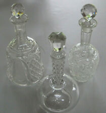 """Set 3 Vintage Cut Glass Decanters - approximately 9"""" in height"""