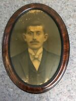 Antique Oval Frame With Flat Glass-Image Of Man