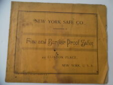 c.1893 New York Safe Company Catalog of Fire Burglar Proof Safes Vault Antique