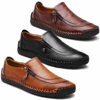 Men's Soft Leather Casual Zipper Shoes Breathable Antiskid Loafers Moccasins