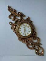 Mid Century Modern Swiss Style Syroco 8 Day Gilded Wall Clock. See Description