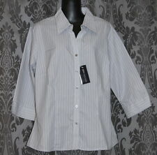 NWT Womens size 12 grey & white striped shirt made by CITY COLLECTION