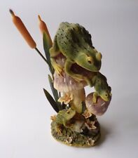 Frogs Mushrooms Toadstools With Bull Rushes Ornament Figure Resin Metal Made